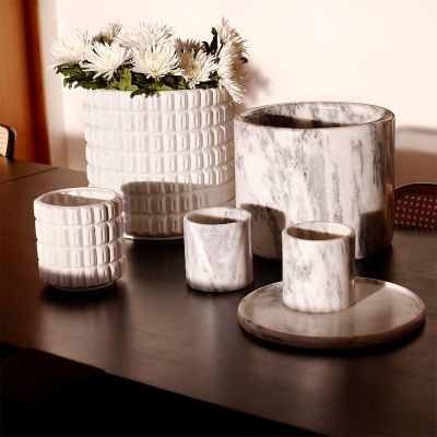 Grey Marble Large Pot